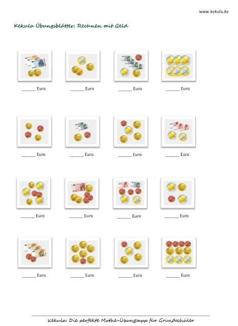 rechnen mit Geld, rechnen mit Euro, Grundschule, plus, minus, Übungsblätter, Kostenlos, PDF, ausdrucken