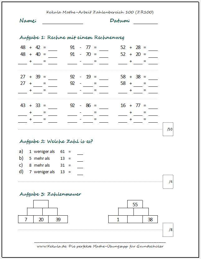 Klassenarbeit mathe klasse2 - Klassenarbeiten Mathe 2. Klasse - Klassenarbeit_mathe_klasse2