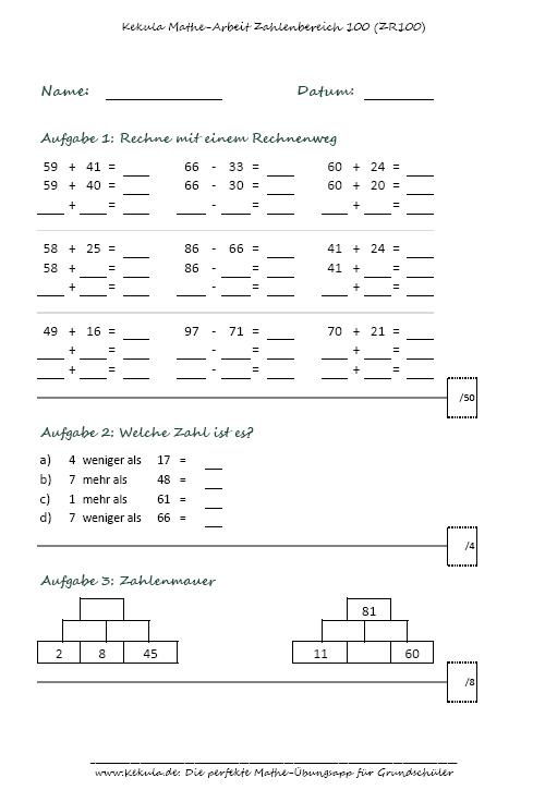 Mathe Grundschule Klasse Klassenarbeit 1 - Übungsblätter Mathe Grundschule - Mathe_Grundschule_Klasse_Klassenarbeit_1