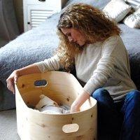 Benni s Nest Babybett aus Zirbenholz inkl. Babymatratze und Holzdeckel (ab Geburt)