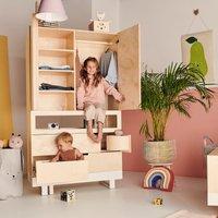 Kutikai Kleiderschrank für Kinderzimmer Roof (100x50x180 cm) aus Birkenholz in natur