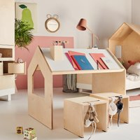 Kutikai Kindertisch aus Holz Roof mit geneigter Tischplatte (100x62x82 cm)