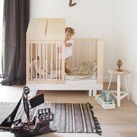 Kutikai Umbauset für Gitterbett zum Kinderbett Roof mit Holzdach