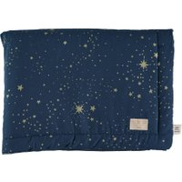 Nobodinoz Babydecke Laponia dunkelblau aus Baumwolle (70x70 cm) mit Sternen in gold