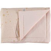 Nobodinoz Decke für Babys und Kinder Laponia aus Baumwolle in rosa (140x100 cm) mit Sternen in gold