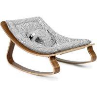 Charlie Crane LEVO Walnuss Babywippe Diamond aus Holz (ab Geburt) in schwarz-weiß