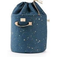 Nobodinoz kleiner Spielzeugkorb Bamboo dunkelblau aus Baumwolle (35 cm) mit Sternen in gold