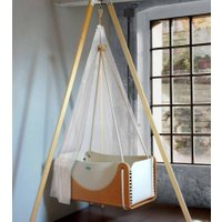 Woodly Babyschaukel Roll aus Holz und Wollfilz inkl. Trapez-Gestell (ab Geburt)