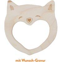 Wooden Story Greifling Grinsende Katze aus Ahornholz mit Wunsch-Gravur