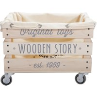 Wooden Story Spielzeugkiste aus Holz auf Rädern für Kinder (45x32x32 cm)