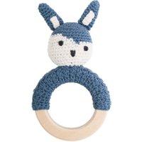 Sebra Häkel-Rassel mit Greifring aus Holz Kaninchen in dunkel-blau (ab Geburt)