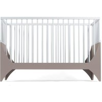 Sebra Yomi Baby- und Kinderbett Komplettset mit Gitter aus Buchenholz (60 x120) höhenverstellbar in braun / weiß