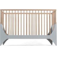 Sebra Yomi Baby- und Kinderbett Komplettset mit Gitter aus Buchenholz (60 x120) höhenverstellbar in grau / natur