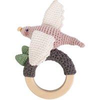 Sebra Häkel-Rassel mit Greifring aus Holz Vogel handmade (ab Geburt)