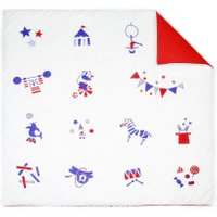Deuz Baby-Spieldecke & Krabbeldecke aus Bio-Baumwolle Zirkus (100x100) in weiss / rot