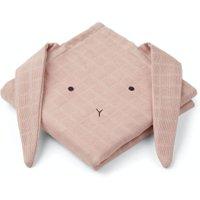 LIEWOOD Spucktücher Set aus Bio-Baumwolle Hase (2-teilig 70x70 cm) in rosa
