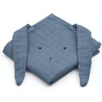LIEWOOD Spucktücher Set aus Bio-Baumwolle Hase (2-teilig 70x70 cm) in blau