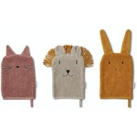 LIEWOOD Kinder-Waschlappen Set aus Bio-Baumwolle Sylvester - Lion mix (3-teilig) in rosa / beige / gelb