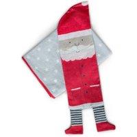 DAVID FUSSENEGGER Kinderdecke aus Baumwolle mit Hülle Weihnachtsmann (140x200 cm) in grau-beige