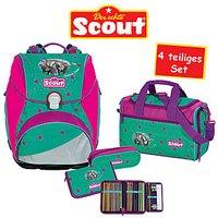 Scout Schulrucksack Alpha Summer Green 4 teiliges Set