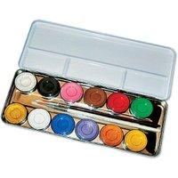 12 Schminkfarben- Schmink Palette im Metalletui