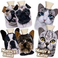 Wärmflasche mit Hund- oder Katzenmotiv auf Polyesterüberzug