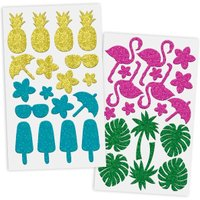Moosgummi Glitter-Sticker Tropic