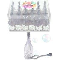 Großpack Kleine silberne Sektflasche Seifenblasen