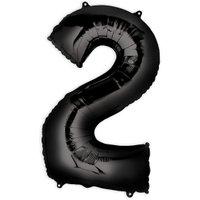 Folienballon  Zahl 2 - Schwarz