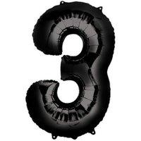 Folienballon Zahl 3 - Schwarz