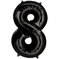 Folienballon  Zahl 8 - Schwarz