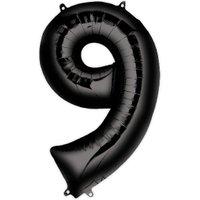 Folienballon  Zahl 9 - Schwarz