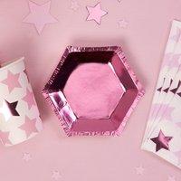 Sechseckige Mini-Teller in pink-metallic