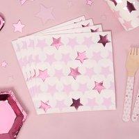 Servietten Kleiner Stern in rosa im 16er Pack